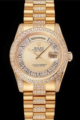 Swiss Rolex Day-Date Diamond Pave Gold Dial Gold Diamond Bracelet 1453954 Rolex Replica Aaa