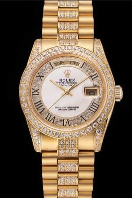 Swiss Rolex Day-Date Diamond Pave White Dial Gold Diamond Bracelet 1453958 Rolex Replica Aaa