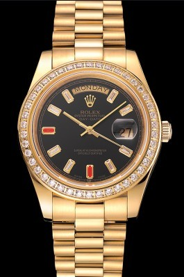 Swiss Rolex Day-Date Diamonds And Rubies Black Dial Gold Bracelet 1454101 Rolex Replica Aaa