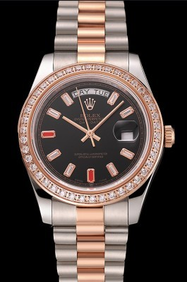 Swiss Rolex Day-Date Diamonds And Rubies Black Dial Rose Gold And Staineless Steel Bracelet 1454106 Rolex Replica Aaa