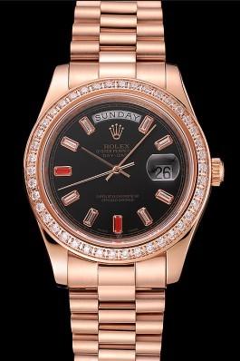 Swiss Rolex Day-Date Diamonds And Rubies Black Dial Rose Gold Bracelet 1454102 Rolex Replica Aaa