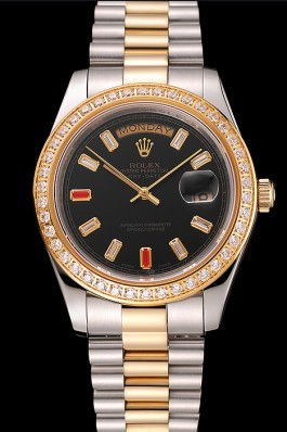 Swiss Rolex Day-Date Diamonds And Rubies Black Dial Two Tone Bracelet 1454105 Rolex Replica Aaa