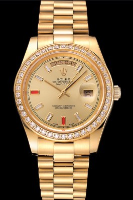 Swiss Rolex Day-Date Diamonds And Rubies Champagne Dial Gold Bracelet 1454100 Rolex Replica Aaa