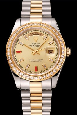 Swiss Rolex Day-Date Diamonds And Rubies Champagne Dial Two Tone Bracelet 1454104 Rolex Replica Aaa