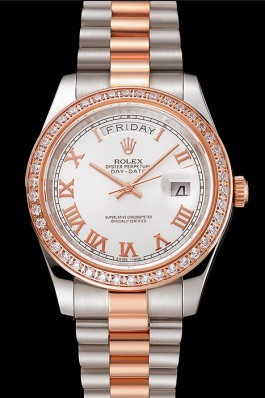 Swiss Rolex Day-Date Diamonds Bezel White Dial Rose Gold And Staineless Steel Bracelet 1454108 Rolex Replica Aaa