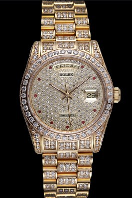 Swiss Rolex Day-Date Diamonds Yellow Gold-srl185 621615 Rolex Replica Aaa