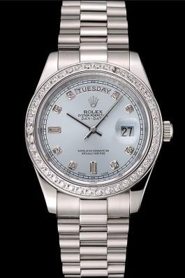 Swiss Rolex Day-Date Ice Blue Dial Diamond Case Diamond Numerals Stainless Steel Bracelet 1453963 Rolex Replica Aaa