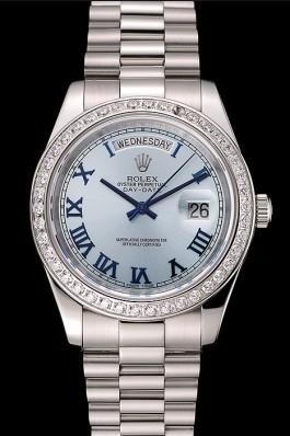 Swiss Rolex Day-Date Ice Blue Dial Diamond Case Stainless Steel Bracelet 1453962 Rolex Replica Aaa