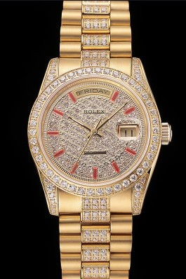 Swiss Rolex Day-Date Red Diamond Pave Dial Gold Diamond Bracelet 1453960 Rolex Replica Aaa