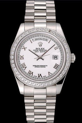 Swiss Rolex Day-Date White Dial Diamond Case Stainless Steel Bracelet 1453967 Rolex Replica Aaa