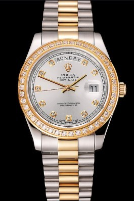 Swiss Rolex Day-Date White Dial Gold Diamond Case Two Tone Stainless Steel Bracelet 1453971 Rolex Replica Aaa