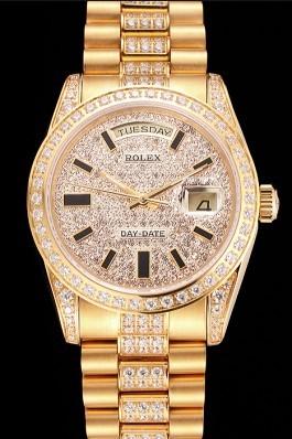 Swiss Rolex Day Date Yellow Gold Diamond Pave  Rolex Replica Aaa