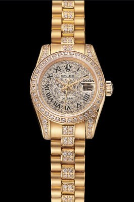 Swiss Rolex DayJust Diamond Pave Dial Gold Diamond Bracelet 1453955 Replica Rolex Datejust