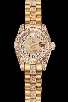 Swiss Rolex DayJust Diamond Pave Gold Dial Gold Diamond Bracelet 1453953 Replica Rolex Datejust