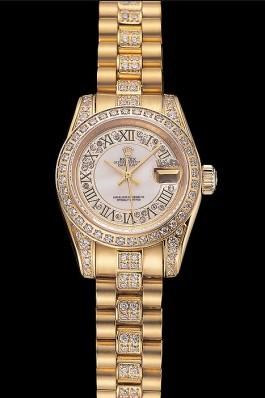 Swiss Rolex DayJust Diamond Pave White Dial Gold Diamond Bracelet 1453957 Replica Rolex Datejust