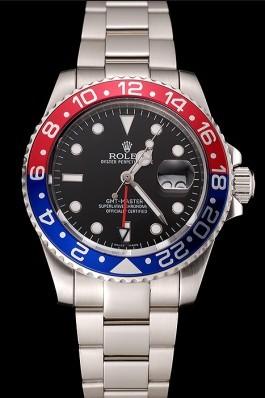 Swiss Rolex GMT Master II Black Dial Pepsi Bezel Stainless Steel Case And Bracelet 1453751 Rolex Replica Gmt