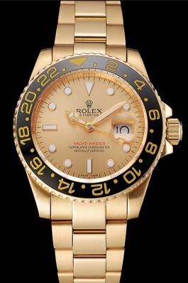 Swiss Rolex GMT Master II Gold Dial Black Bezel Gold Case And Bracelet 1453749 Rolex Replica Gmt