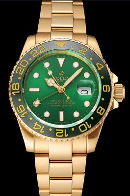 Swiss Rolex GMT Master II Green Dial And Bezel Gold Case And Bracelet 1453750 Rolex Replica Gmt