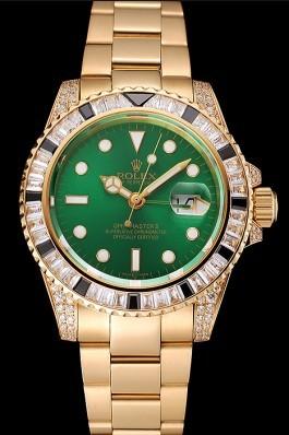 Swiss Rolex GMT Master II Green Dial Stone Set Bezel Gold Case And Bracelet 1453748 Rolex Replica Gmt