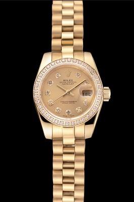 Swiss Rolex Lady-Datejust Champagne Dial Diamond Bezel Gold Bracelet 1454095 Replica Rolex Datejust