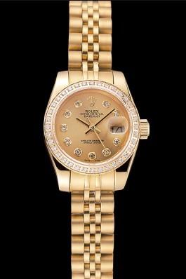 Swiss Rolex Lady-Datejust Champagne Dial Diamond Bezel Gold Jubilee Bracelet 1454096 Replica Rolex Datejust