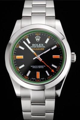 Swiss Rolex Milgauss Black Dial Orange Markings Stainless Steel Case And Bracelet Luxury Watch Replica