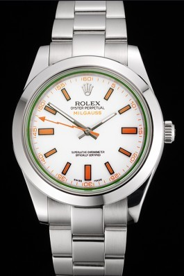 Swiss Rolex Milgauss White Dial Orange Markings Stainless Steel Case And Bracelet Luxury Watch Replica