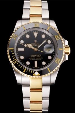 Swiss Rolex Submariner Black Dial And Bezel Two Tone Steel Gold Bracelet Rolex Submariner Replica