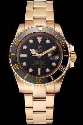 Swiss Rolex Submariner Black Dial Black Bezel Yellow Gold Case And Bracelet Rolex Submariner Replica