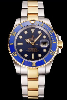 Swiss Rolex Submariner Blue Dial And Bezel Two Tone Steel Gold Bracelet Rolex Submariner Replica