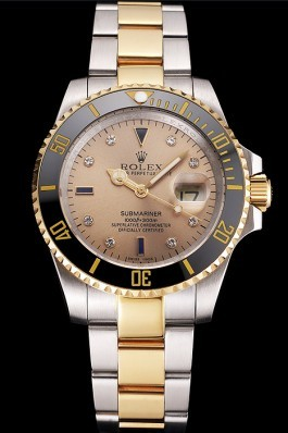 Swiss Rolex Submariner Gold Dial Diamond Markings Black Bezel Two Tone Steel Gold Bracelet Rolex Submariner Replica