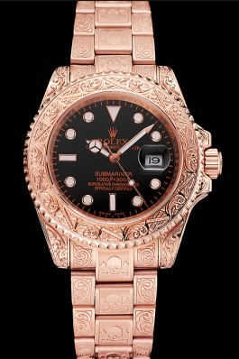 Swiss Rolex Submariner Skull Limited Edition Black Dial Rose Gold Case And Bracelet 1454086 Rolex Submariner Replica