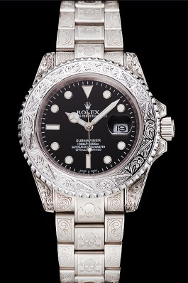 Swiss Rolex Submariner Skull Limited Edition Black Dial White Case And Bracelet 1454093 Rolex Submariner Replica