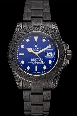 Swiss Rolex Submariner Skull Limited Edition Blue Dial All Black Case And Bracelet 1454084 Rolex Submariner Replica
