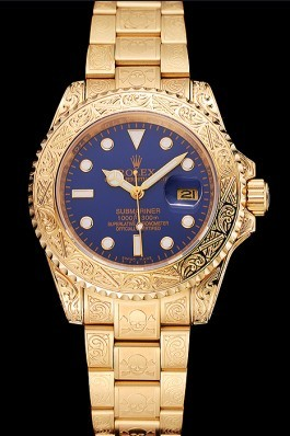 Swiss Rolex Submariner Skull Limited Edition Blue Dial Gold Case And Bracelet 1454089 Rolex Submariner Replica