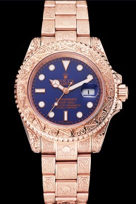Swiss Rolex Submariner Skull Limited Edition Blue Dial Rose Gold Case And Bracelet 1454085 Rolex Submariner Replica