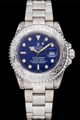 Swiss Rolex Submariner Skull Limited Edition Blue Dial White Case And Bracelet 1454094 Rolex Submariner Replica