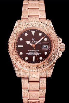 Swiss Rolex Submariner Skull Limited Edition Brown Dial Rose Gold Case And Bracelet 1454087 Rolex Submariner Replica