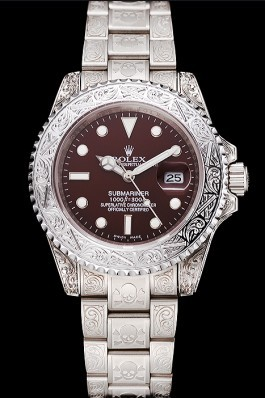 Swiss Rolex Submariner Skull Limited Edition Brown Dial White Case And Bracelet 1454092 Rolex Submariner Replica