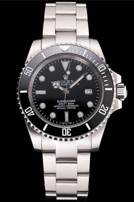 Swiss Rolex Submariner Small Date Black Dial And Bezel Stainless Steel Case And Bracelet Rolex Submariner Replica