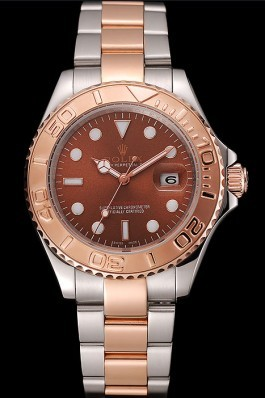 Swiss Rolex Yacht Master Rose Gold Dial Two Tone Stainless Steel Bracelet 1453979 Replica Rolex