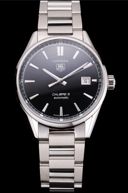 Swiss Tag Heuer Carrera Calibre 5 Black Dial Stainless Steel Case And Bracelet Tag Heuer Replica