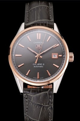 Swiss Tag Heuer Carrera Calibre 5 Gray Dial Rose Gold Case Black Leather Strap Tag Heuer Replica