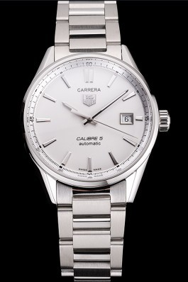 Swiss Tag Heuer Carrera Calibre 5 Silver Dial Stainless Steel Case And Bracelet Tag Heuer Replica