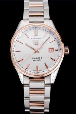 Swiss Tag Heuer Carrera Calibre 5 White Dial Rose Gold Case Two Tone Bracelet Tag Heuer Replica