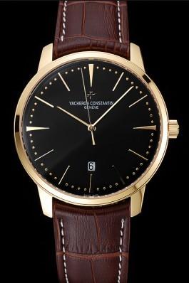 Swiss Vacheron Constantin Patrimony Black Dial Gold Case Brown Leather Bracelet 1454179 Replica Vacheron Constantin