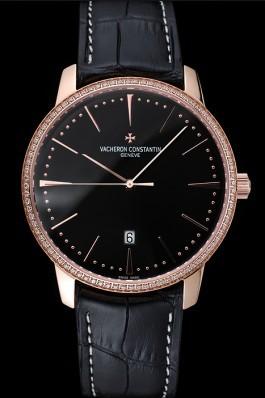 Swiss Vacheron Constantin Patrimony Black Dial Rose Gold Diamonds Case Black Leather Bracelet 1454175 Replica Vacheron Constantin