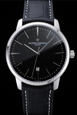Swiss Vacheron Constantin Patrimony Black Dial Silver Case Black Leather Bracelet 1454156 Replica Vacheron Constantin