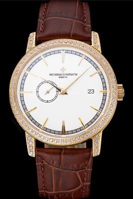 Swiss Vacheron Constantin Patrimony Contemporaine Gold Diamond Case White Dial Brown Leather Bracelet 622686 Replica Vacheron Constantin