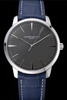 Swiss Vacheron Constantin Patrimony Grey Dial Silver Case Blue Leather Bracelet 1454159 Replica Vacheron Constantin